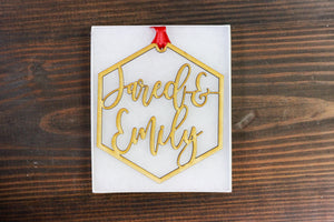 Custom Name Wood Hexagon Ornament - 2 Names, Accessories, Sunny and Southern, - Sunny and Southern,
