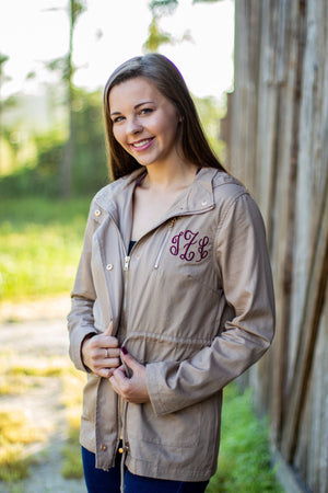Classic Monogrammed Anorak Jacket with Hood, Ladies, Sunny and Southern, - Sunny and Southern,