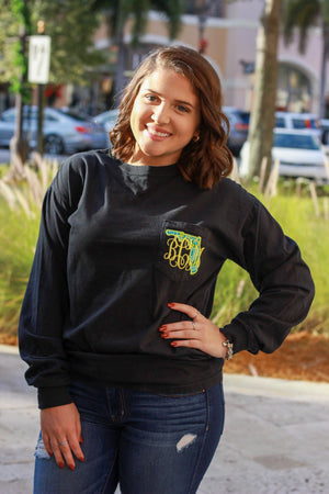 Lilly State Monogrammed Long Sleeve Pocket Tee