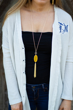 Mia Oval Stone Tassel Necklace, Accessories, Sunny and Southern, - Sunny and Southern,