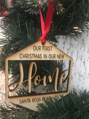 Custom First Christmas at Home Wood Hexagon Ornament