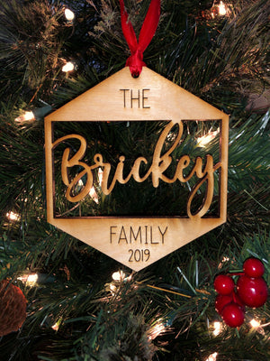 Custom Family Name Wood Hexagon Ornament