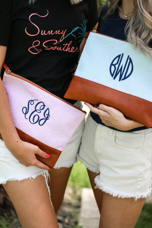 Classic Monogrammed Seersucker Zipper Clutch, , domil, - Sunny and Southern,