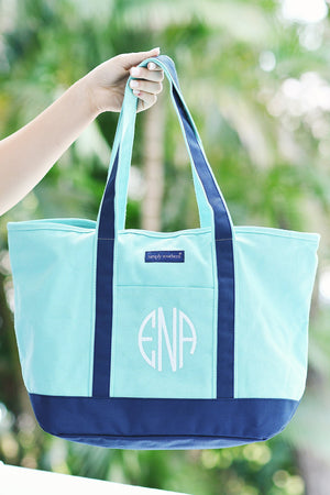 Classic Monogrammed Simply Southern Blue Boat Tote, Accessories, Simply Southern, - Sunny and Southern,