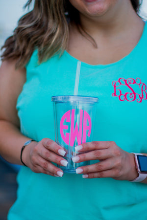Monogrammed Classic Acrylic Tumbler, Accessories, Sunny and Southern, - Sunny and Southern,