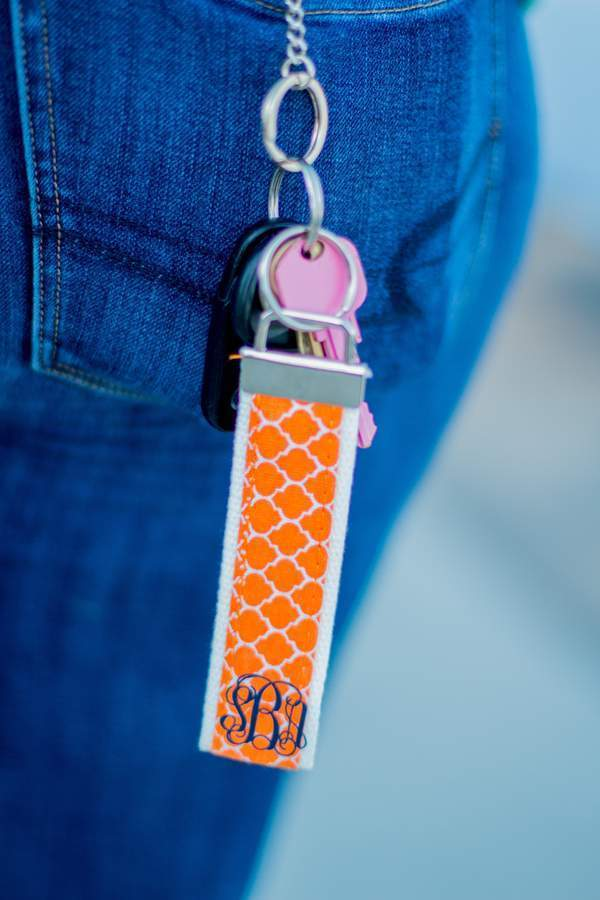 Classic Monogrammed Quatrefoil Key Chain, Accessories, Sunny and Southern, - Sunny and Southern,