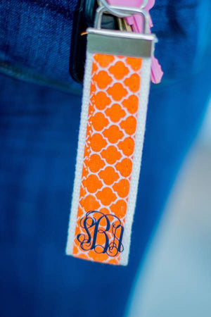 Classic Monogrammed Seersucker Key Chain, Accessories, Sunny and Southern, - Sunny and Southern,
