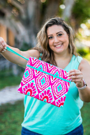 Classic Monogrammed Beachy Keen Zip Pouch Wristlet, Accessories, Sunny and Southern, - Sunny and Southern,