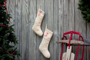 Embroidered Single Initial Stocking, , Sunny and Southern, - Sunny and Southern,