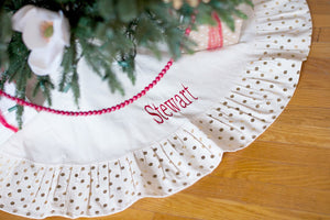 Embroidered Christmas Tree Skirt, , Sunny and Southern, - Sunny and Southern,