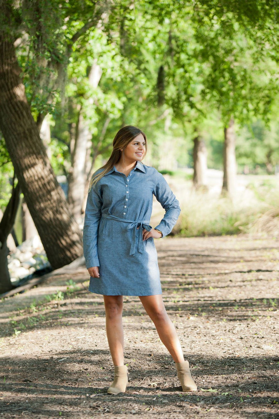 Classic Monogrammed Chambray Dress, Ladies, WB, - Sunny and Southern,