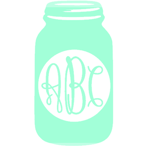 Monogrammed Vinyl Decal Mason Jar, Accessories, Sunny and Southern, - Sunny and Southern,