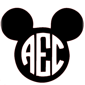 Monogrammed Vinyl Decal Mickey Mouse, Accessories, Sunny and Southern, - Sunny and Southern,