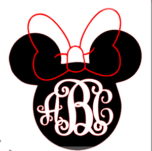 Monogrammed Vinyl Decal Minnie Mouse, Accessories, Sunny and Southern, - Sunny and Southern,