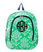 Monogrammed Monogrammed Canvas BackPack Damask - Sunny and Southern - 1