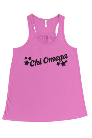 Greek Tilted Stars Bella Canvas Flowy Racerback Tank, Ladies, Sunny and Southern, - Sunny and Southern,
