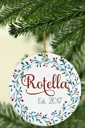 Personalized Family Name Ceramic Ornament - Full Wreath, , Sunny and Southern, - Sunny and Southern,