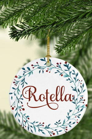 Personalized Family Name Ceramic Ornament - Full Wreath