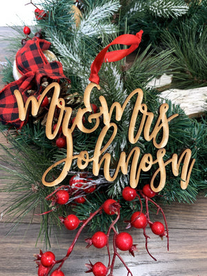 Custom Wood Name Ornament with 2 Lines - Johnson Font, Accessories, Sunny and Southern, - Sunny and Southern,