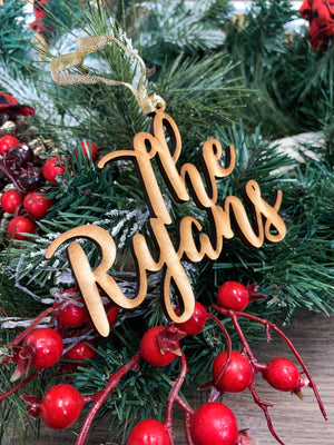 Custom Wood Name Ornament with 2 Lines - Ryan Font
