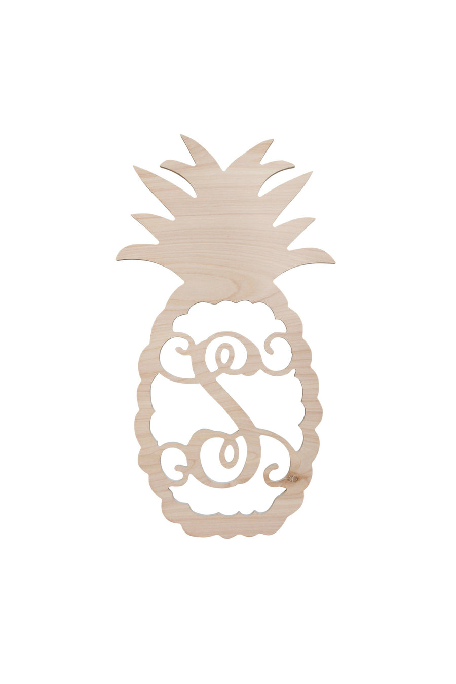 Single Initial Pineapple Wood Monogram, Home, WB, - Sunny and Southern,