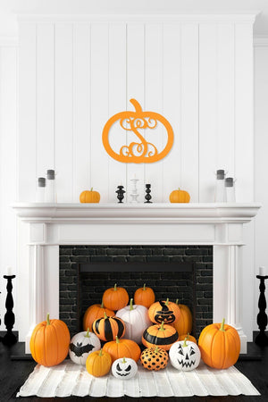 18 Inch Pumpkin Wood Monogram, Home, WB, - Sunny and Southern,