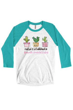 Rooted and Established In Greek Shirt - Next Level Unisex Triblend 3/4-Sleeve Raglan, Ladies, Sunny and Southern, - Sunny and Southern,