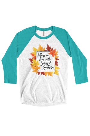 Falling in Love with Sunny and Southern Shirt - Next Level Unisex Triblend 3/4-Sleeve Raglan, Ladies, Sunny and Southern, - Sunny and Southern,