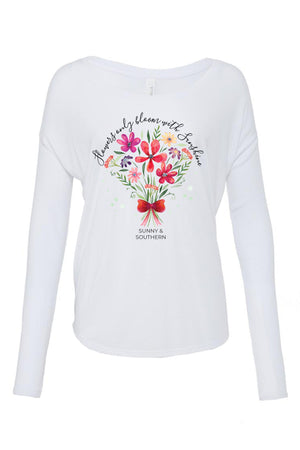 Flowers Only Bloom with Sunshine Shirt - Bella Flowy Long Sleeve, Ladies, Sunny and Southern, - Sunny and Southern,
