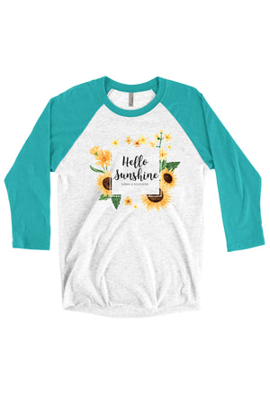 Hello Sunshine Shirt - Next Level Unisex Triblend 3/4-Sleeve Raglan, Ladies, Sunny and Southern, - Sunny and Southern,