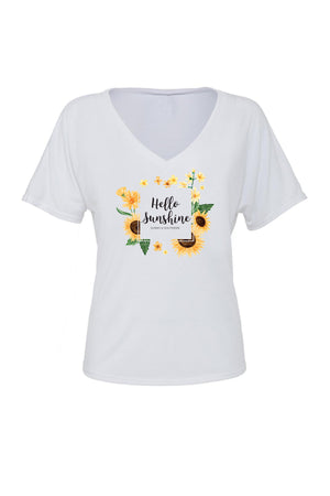 Hello Sunshine Shirt - Bella Slouchy V-Neck Short Sleeve, Ladies, Sunny and Southern, - Sunny and Southern,