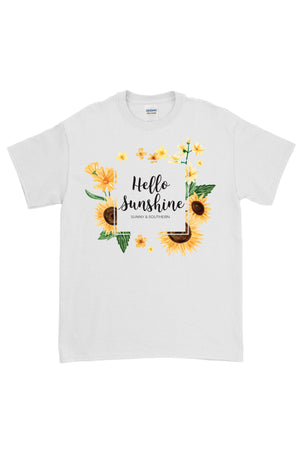 Hello Sunshine Shirt - Gildan Short Sleeve, Ladies, Sunny and Southern, - Sunny and Southern,