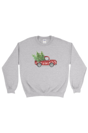 Red Truck Christmas Gildan Crew Neck Sweatshirt, Ladies, Sunny and Southern, - Sunny and Southern,