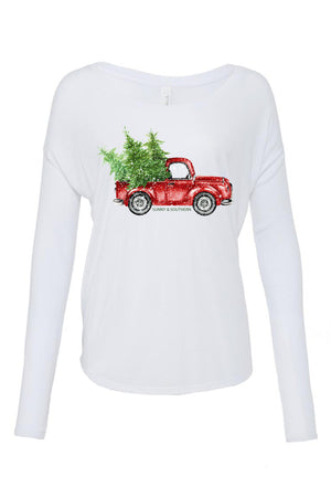Red Truck Christmas Bella Canvas Ladies Flowy Long Sleeve Tee