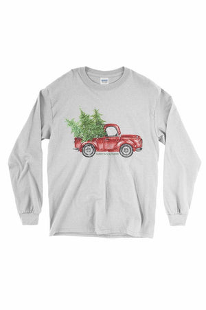 Red Truck Christmas Shirt - Gildan Long Sleeve, Ladies, Sunny and Southern, - Sunny and Southern,