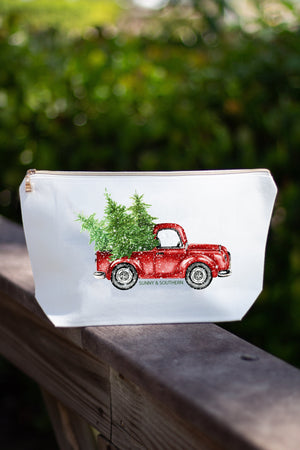 Red Truck Christmas White Canvas Make up Bag w/ Gold Zipper