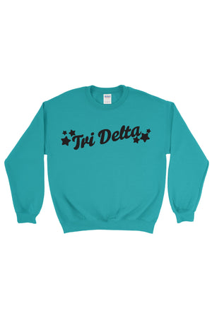 Greek Tilted Stars Gildan Crew Neck Sweatshirt, Ladies, Sunny and Southern, - Sunny and Southern,
