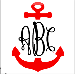 Monogrammed Vinyl Decal Split Anchor, Accessories, Sunny and Southern, - Sunny and Southern,