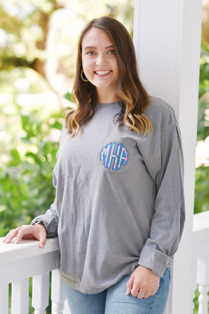 Lilly Scallop Monogrammed Long Sleeve Comfort Colors Pocket Tee, Ladies, virgina, - Sunny and Southern,