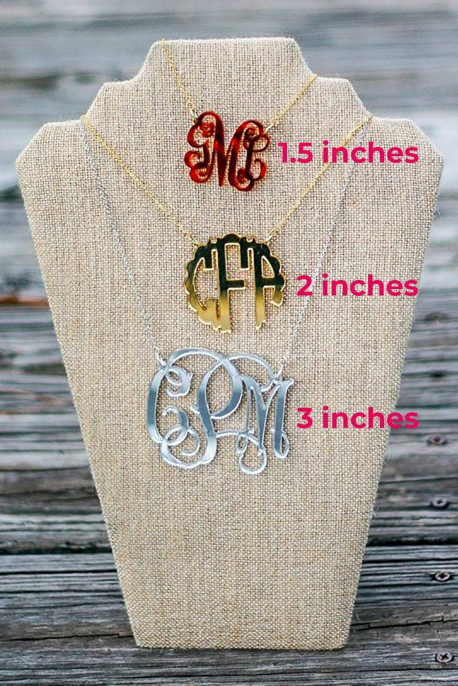 personalized necklace Initial Necklace Monogram Necklace 2.0 inch monogrammed  necklace silver necklace