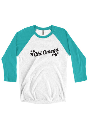 Greek Tilted Stars Next Level Unisex Triblend 3/4-Sleeve Raglan, Ladies, Sunny and Southern, - Sunny and Southern,