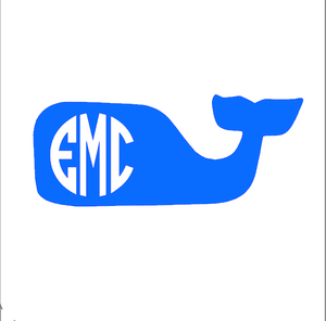 Monogrammed Vinyl Decal Preppy Whale, Accessories, Sunny and Southern, - Sunny and Southern,