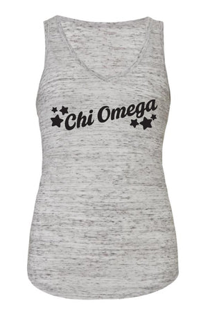 Greek Tilted Stars Bella Canvas Flowy V-Neck Tank, Ladies, Sunny and Southern, - Sunny and Southern,