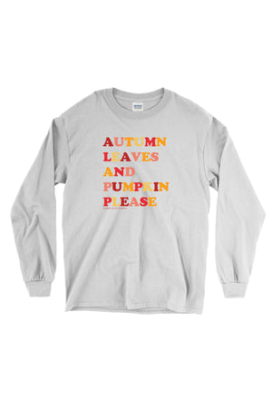Autumn Leaves and Pumpkin Please Gildan Long Sleeve, Ladies, Sunny and Southern, - Sunny and Southern,