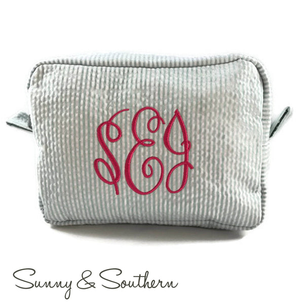 Monogrammed Monogrammed Seersucker Cosmetic bag - Sunny and Southern - 1
