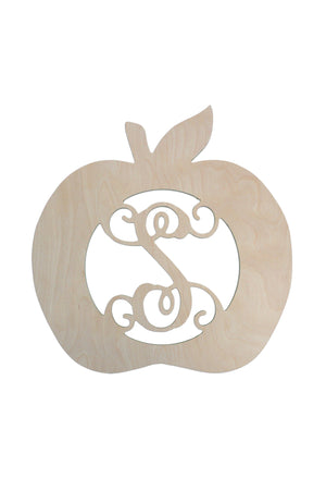 18 inch Apple Design Wood Monogram, Home, WB, - Sunny and Southern,