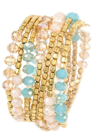 Multi Wrap Mix Bead Stretch Bracelet/Necklace, Accessories, Sunny and Southern, - Sunny and Southern,