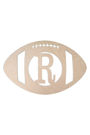 "18"" Football Wood Monogram, Home, WB, - Sunny and Southern,"