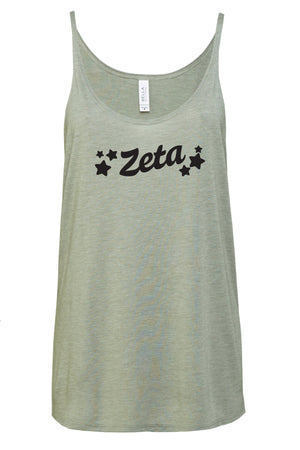 Greek Tilted Stars Bella Canvas Slouchy Tank, Ladies, Sunny and Southern, - Sunny and Southern,