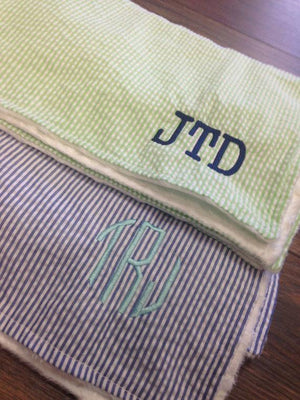 Monogrammed Seersucker Baby Blanket, Accessories, domil, - Sunny and Southern,